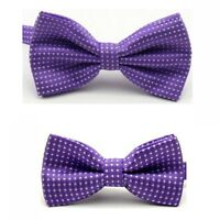 Men Child Boy Kid White Polka Dot Adjustable Wedding Bowtie Bow Tie Necktie Set