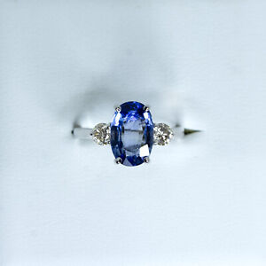 Three Stone Natural Sapphire Ring in 18K White Gold