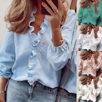 Women Long Sleeve Casual T Shirt Ruffle V Neck Plus Tops Loose Blouse Floral