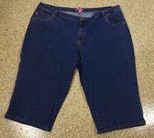 Woman Within Capris Denim Cropped Blue Jeans Plus Size 30W Natural Fit 48W x 20L