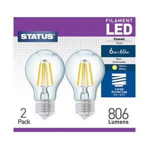 Status LED 6w = 60w, Filament Bulb, Warm White, Non-Dimmable, E27 Screw, 2 Pack