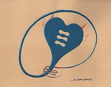 """""""DEVIL LOVE HEART"""" Signed Tempera & Pencil Painting on Paper 2000"""