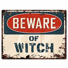 PP1904 Beware of WITCH Plate Chic Sign Home Store Halloween Decor Gift