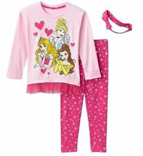 Disney Princess 3 pc Outfit Tunic Pants Headband Sz 5 Cinderella Belle Aurora NE