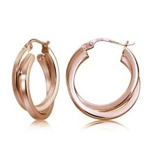 Rose Gold Flash Silver Square-Tube Double Twisted 20mm Round Hoop Earrings