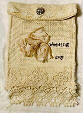 vintage wedding day SOMETHING OLD lace Card holder Boho Rustic Rosette Burlap