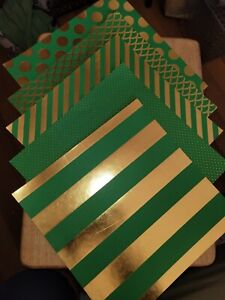 Scrapbook Cardstock 12x12 EMERALD/GOLD Dots Stripes Mermaid Scales 5 Pgs