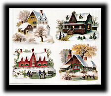 Vintage Gifted Line Victorian Christmas Village House Home Stickers Grossman