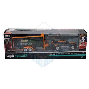 Maisto Design 1:64 Tow & Go Black Orange 2016 Chevrolet Camaro SS & Car Trailer
