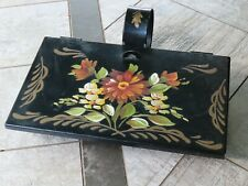 vintage hand tole painted metal tray container hinged handle primitive folk art