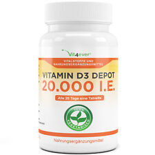 Vitamin D3 20.000 I.E. - 100 Tabletten - Hochdosiert mit 20000 IU Vitamin D3
