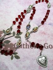 Precious Blood Chaplet (8 x 6 mm Red Glass faceted bead) Silver tone Medals