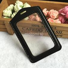 New ID Badge Holder Case Business Work Card Case Two-side Clear Transparent CA