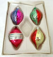 Vintage Glass Teardrop Christmas Ornaments Lot of 4 Glitter