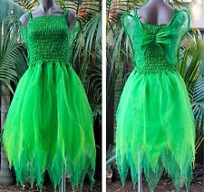 ADULT WOMEN Tinkerbell Fairy Fancy Dress Fantasy Costume - Forest Green/Neon