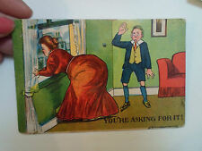 "Vintage Postcard ~ Fly Swatting Big Bum Humour ~ ""You're Asking For It"" Unposted"