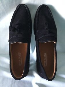 River Island Size 44 Mens Navy Slip On Shoes, new