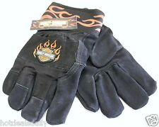 HARLEY DAVIDSON LONG CUFF KEVLAR LINED WORK GLOVES MOTORCYCLE FLAMES PROTECTIVE