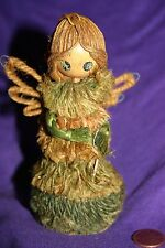 Vintage Christmas ornament  Angel from Jute and wood head  Tree top or hang