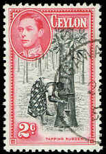Scott # 278C - 1949 - ' Tapping Rubber Tree ', Postage & Revenue Removed
