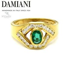 NYJEWEL Damiani 18k Yellow Gold Emerald Diamond Ring