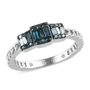 925 Sterling Silver Blue Diamond Promise Ring Jewelry Gift Ct 0.25 I3 Clarity