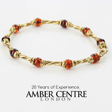 ITALIAN MADE 9CT SOLID GOLD BALTIC AMBER BRACELET-GBR021 RRP£500!!!