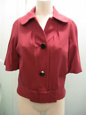 Tracy Reese P Petite Dark Pink Knit Short Jacket Silk Lining Chic