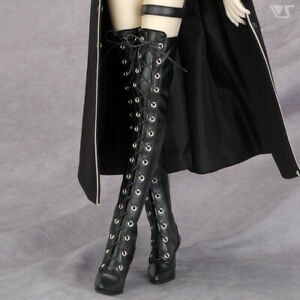 VOLKS Shoes Boutique Shiny Black Thigh High Heel Boots for 1/3 BJD DOLL