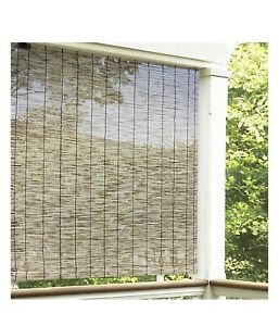 """Eden Grove Reed Cordless 60"""" x 72"""" Roll-Up Shade in Natural Rayon From Bamboo"""