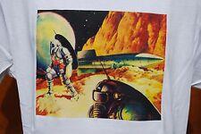 GRAPHIC retro art vintage Mens Cotton T Shirt ,Retro Space Explorers , S,M,L ,XL