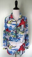CROWN & IVY Beach Blue Ocean Europe Town Coat Jacket Pullover Size Large New