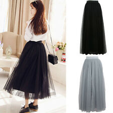 Womens Multi Layer Tulle Pleated Retro Long Maxi Tutu Dress High Waist Net Skirt