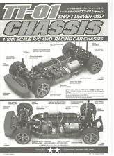 2005 Vintage Tamiya 1/10 Scale RC TT-01 Shaft Driven 4WD Chassis Car Manual