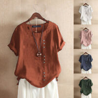 Women Short Sleeve Plus Size Loose Baggy Cotton Top Tee T Shirt Ladies Blouse