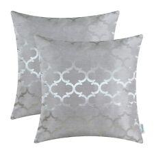 2Pcs Silver Gray Cushions Covers Pillow Cases Quatrefoil Accent Sofa Car 50x50cm