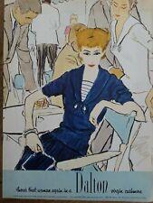 1957 women's Dalton blue virgin Cashmere sweater dress vintage fashion art ad
