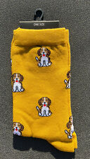 Ladies/Girls Mustard Yellow With Small Beagle Dogs On Cotton Ankle Socks