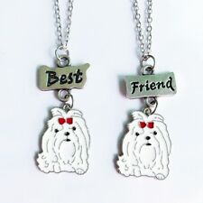 Stunning Silver Tone pair of best friends Maltese Dog Necklace