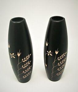 2 x decorative finished black wood vases 30 cm tall 6cm diameter wedding/ xmas
