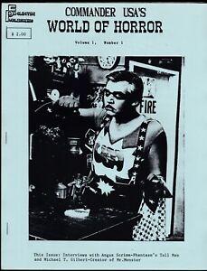 COMMANDER USA'S WORLD OF HORROR FANZINE 1 MAGAZINE 1988 MR MONSTER ANGUS SCRIMM