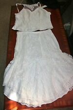 r- WEDDING GOWN SZ M CREAM OFF WHITE LACE FORMAL ATTIRE PROM PAGEANT CUSTOM MADE