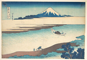 painting Vintage print art poster canvas Japanese katsushika hokusai fuji river