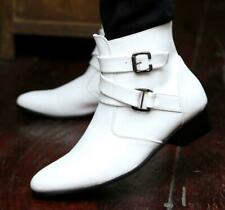 Mens pu leather cowboy ankle boots buckle strap Pointy toe casual zipper shoes