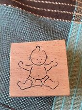 RUBBER STAMP WOOD MOUNTED BABY IN DIAPER GREAT FOR SCRAPBOOKING  CARDS ENVELOPES