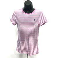 POLO Pony Crew Neck Tee Shirt Womens Size M Medium Pink Striped Short Sleeve