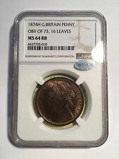 GREAT BRITAIN VICTORIA 1874-H  PENNY COIN, UNCIRCULATED, CERTIFIED NGC MS64-RB