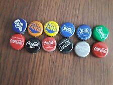 Lote de 12 chapas de refrescos, coca cola, fanta, sprite.