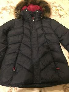 Barbour Coastal Collection Navy Quilted Jacket Ladies SIZE UK 14 Fur hood BNWT