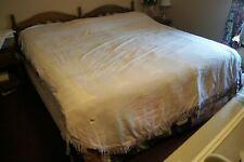 "Vintage White Chenille Bedspread Blanket  87"" X 102""  Fringed"